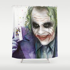 Joker Why So Serious Watercolor Shower Curtain