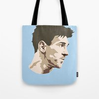 messi Tote Bags featuring Messi by The World Cup Draw