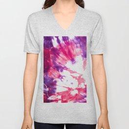 Modern Artsy Abstract Neon Pink Purple Tie Dye Unisex V-Neck