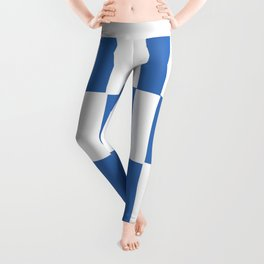Modern royal blue and white trendy checker pattern Leggings