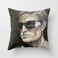 newspaper Throw Pillows featuring Newspaper Man by Charles Ellison