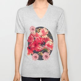 Vintage Flowers and Bees Unisex V-Neck