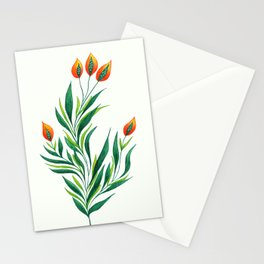 Abstract Green Plant With Orange Buds Stationery Cards
