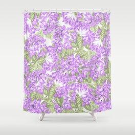 Botanical violet lavender green floral pattern Shower Curtain