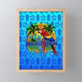 Island Time Surfing Blue Tiki Framed Mini Art Print