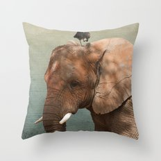 Brotherly- elephant and owl Throw Pillow