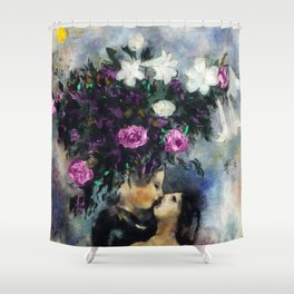 Lovers Under Calla Lilies & Flowers floral portrait painting by Marc Chagall Shower Curtain