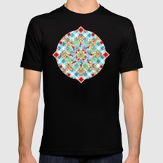Gingham Festival Mandala MEDIUM Mens Fitted Tee Black