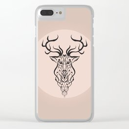 Deer on ancient pink background Clear iPhone Case