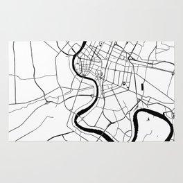 Bangkok Thailand Minimal Street Map - Black and White Rug
