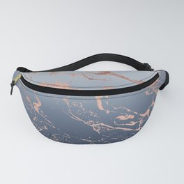 Modern grey navy blue ombre rose gold marble pattern Fanny Pack