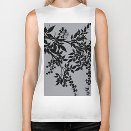 TREE BRANCHES BLACK AND GRAY LEAVES AND BERRIES Biker Tank