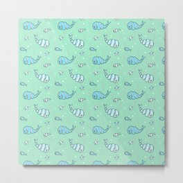 Whirly Whales and Funny Fish Metal Print