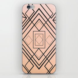 Modern coral gray watercolor ombre geometrical iPhone Skin