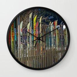 Colorado Ski Fence Wall Clock
