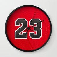 chicago bulls Wall Clocks featuring Michael 23 Jordan Chicago Bulls by Rorzzer