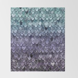 MAGIC MERMAID - MYSTIC TEAL-PURPLE Throw Blanket