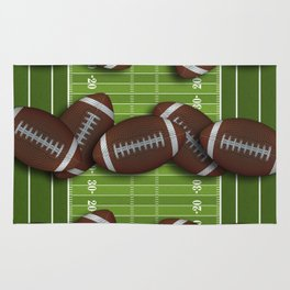 Football Field Filled with Footballs Rug