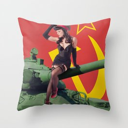 """Sovietsky by Land"" - The Playful Pinup - Russian Tank Pin-up Girl by Maxwell H. Johnson Throw Pillow"