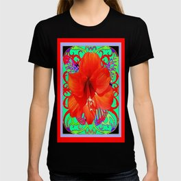 Italian  Style Design Red Amaryllis Abstract T-shirt