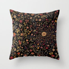Medieval Flowers on Black Throw Pillow