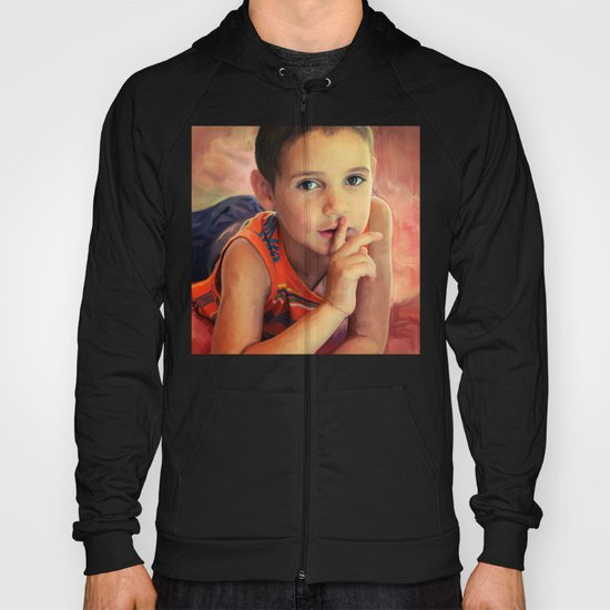 Hush - portrait of a boy with his finger to his lips Hoody