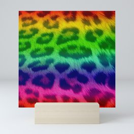 Rainbow Leopard Print Pattern Design Mini Art Print
