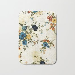 Cream Blue Yellow Floral Bath Mat