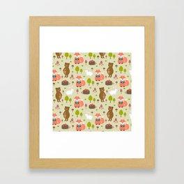 Hand drawn modern coral white green autumn animal Framed Art Print