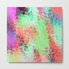flower pattern abstract background in green pink purple blue Metal Print