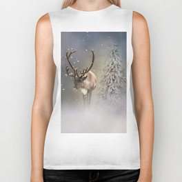 Santa Claus Reindeer in the snow Biker Tank