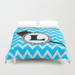 L Cat Chevron Monogram Duvet Cover