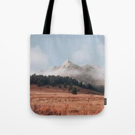Magical misty morning at Chautauqua Park Tote Bag