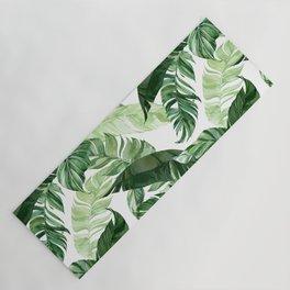Green leaf watercolor pattern Yoga Mat