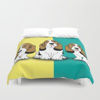 dogs Duvet Covers featuring dogs  by mark ashkenazi