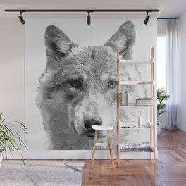 Black and White Wolf Wall Mural