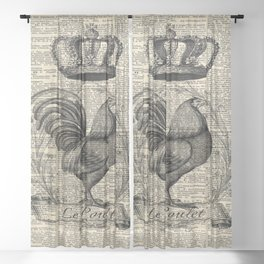 western country french chicken kitchen art farmhouse rooster Sheer Curtain