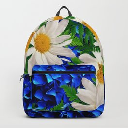 WHITE DAISY FLOWERS ON BLUE ART Backpack