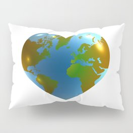 Globe in the shape of heart Pillow Sham