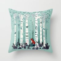 Throw Pillows featuring The Birches by littleclyde