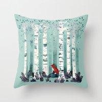 autumn Throw Pillows featuring The Birches by littleclyde