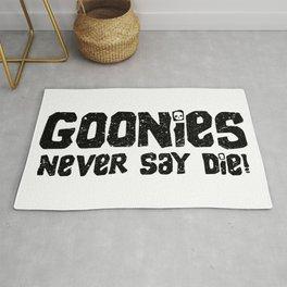 Goonies Never Say Die! Distressed Artwork for Wall Art, Prints, Posters, Tshirts, Men, Women, Kids Rug