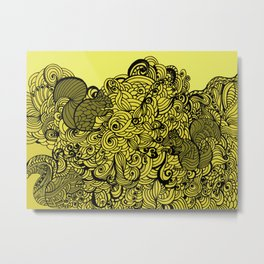 Squirrels Zentangle Drawing Yellow Metal Print