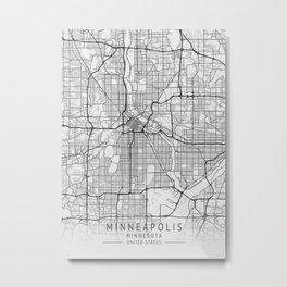 Minneapolis - Minnesota - US Gray Map Art Metal Print