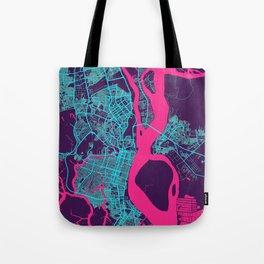 Guayaquil Neon City Map, Guayaquil Minimalist City Map Art Print Tote Bag