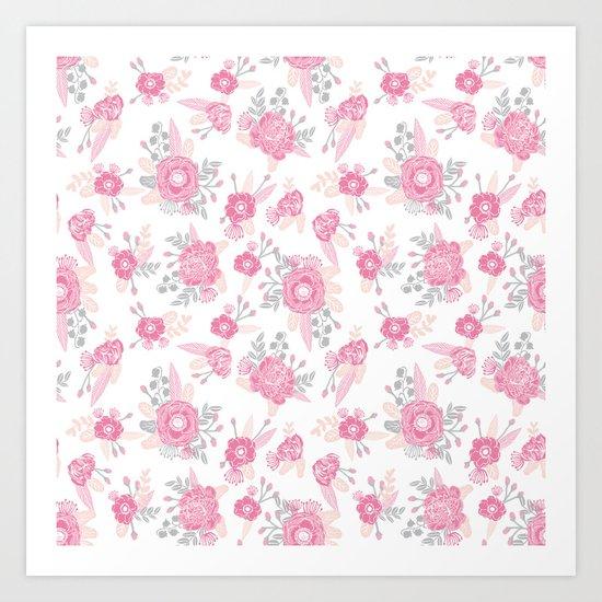 Pink pastel florals cute nursery baby girl decor floral botanical bouquet blooms Art Print