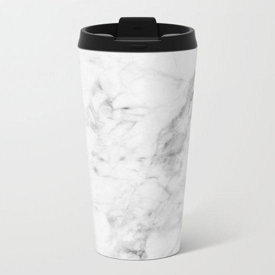 White Marble Metal Travel Mug