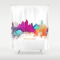 minneapolis Shower Curtains featuring Minneapolis skyline watercolor by jbjart