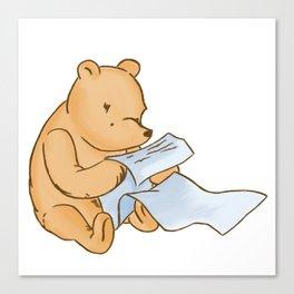 Pooh Reading Canvas Print