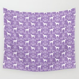 Irish Setter floral dog breed silhouette minimal pattern purple and white dogs silhouettes Wall Tapestry